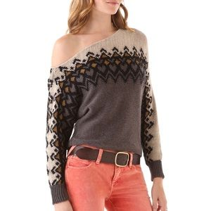 Free People Heart Isle Off Shoulder Sweater Large